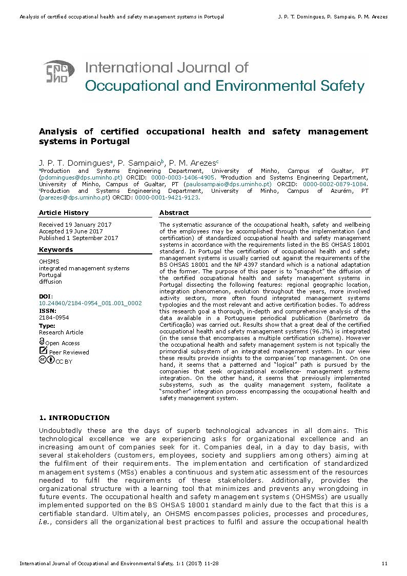 Analysis of certified occupational health and safety ...